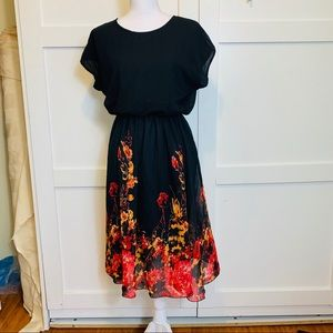Black dress with floral print
